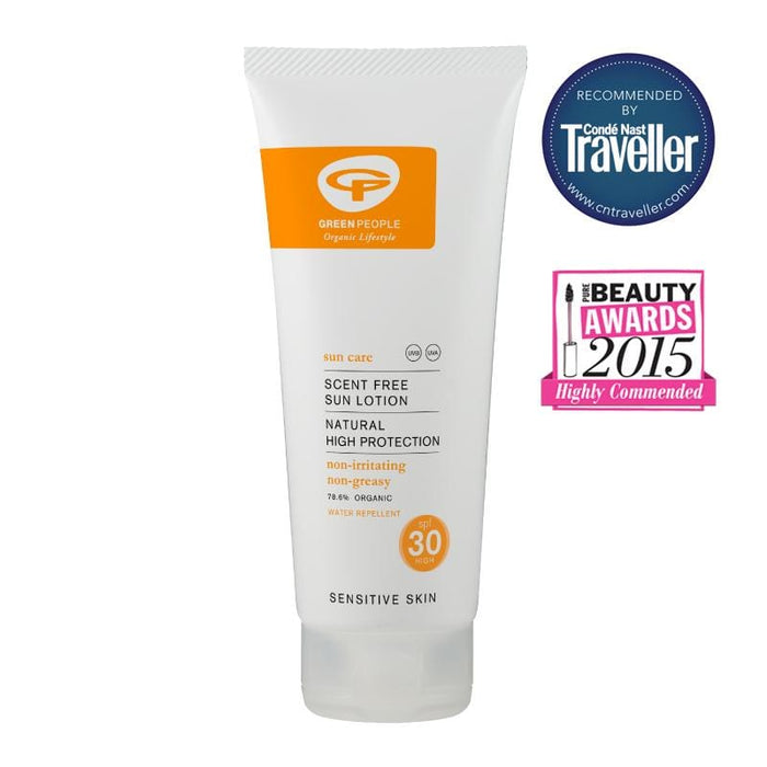 Green People | Sun Lotion Scent Free SPF 30 - 100ml Conde Nast Traveller | A Little Find