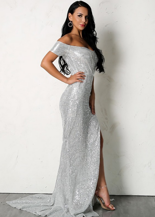 Floor Length Off Shoulder Sequin Dress