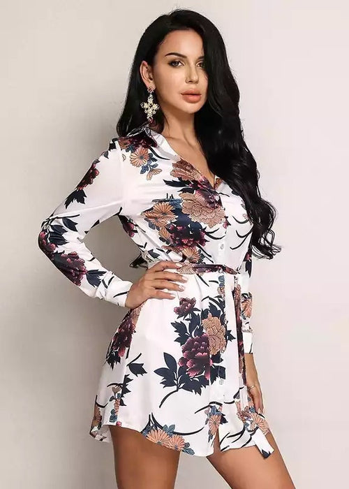 Floral Print Long Sleeve Mini Dress - 2 Colors Available