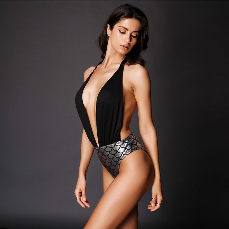 MERMAID BLACK BACKLESS HALTER BODYSUIT