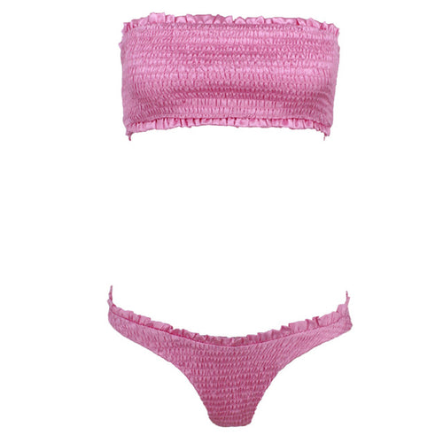 Smocked Bandeau Bikini Swimsuit - 3 Colors Available