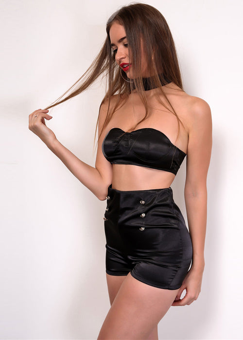 Black Satin Bandeau Two Piece Short Set