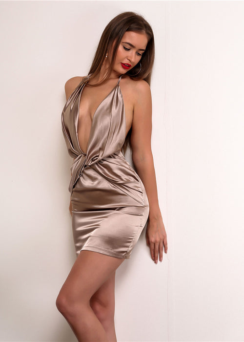 Backless Satin Twist Halter Dress - 3 Colors Available