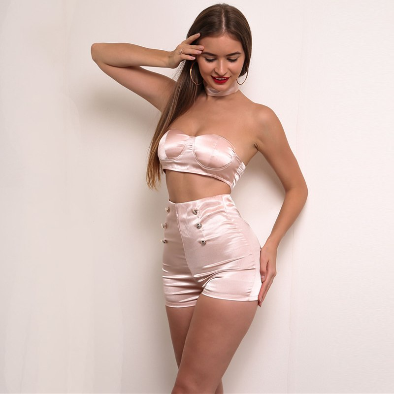Pink Nude Satin Bandeau Two Piece Short Set