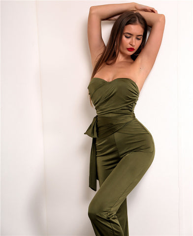 Strapless Ruched Jumpsuit - 2 Colors Available