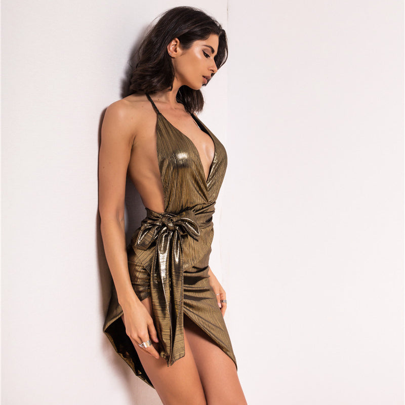 Metallic Wrap Backless Halter Dress - 2 Colors Available