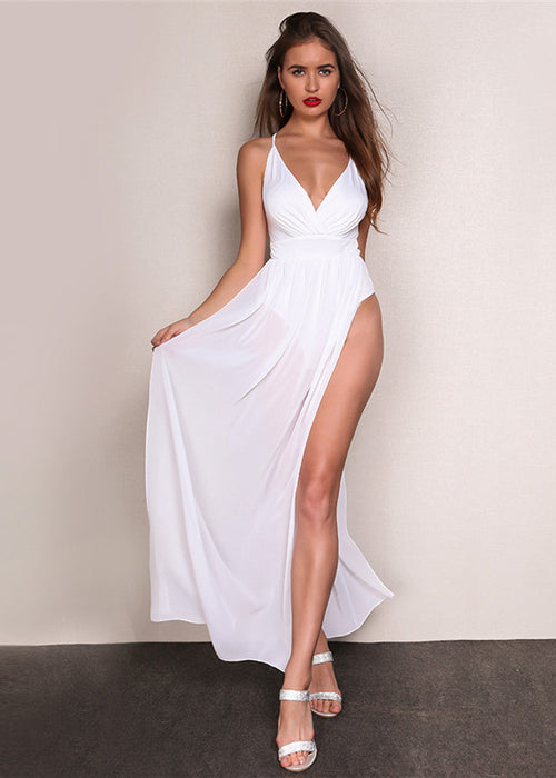 White Halter Bodysuit Maxi Dress