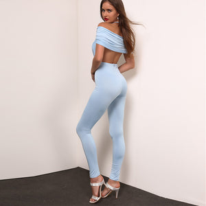 Sky Blue Draped V Neck Jumpsuit