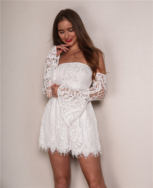 Lace Off The Shoulder Mini Dress - 2 Colors Available