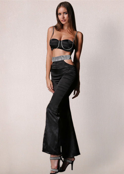Black Satin Bustier Two Piece Jumpsuit