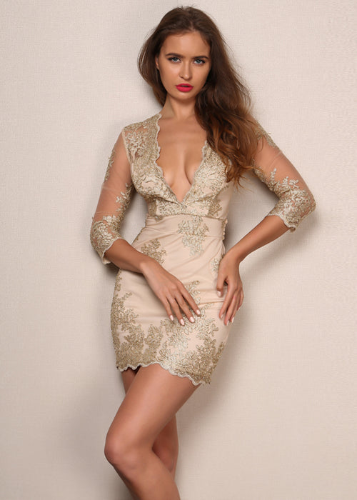 Gold Lace Embroidery Mini Dress