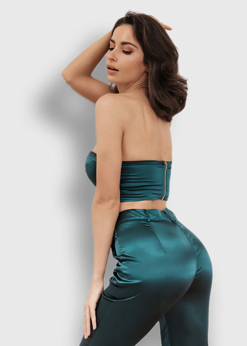 Green Strapless Two Piece Jumpsuit - 3 Colors Available