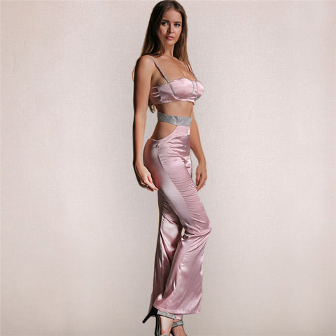 Pink Satin Bustier Two Piece Jumpsuit