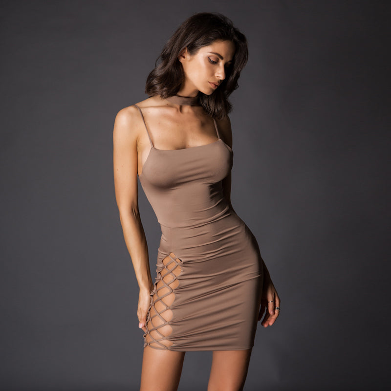 Lattice Cut Out Bodycon Mini Dress - 2 Colors Available
