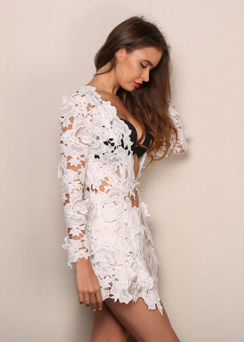 White Lace Two Piece Romper