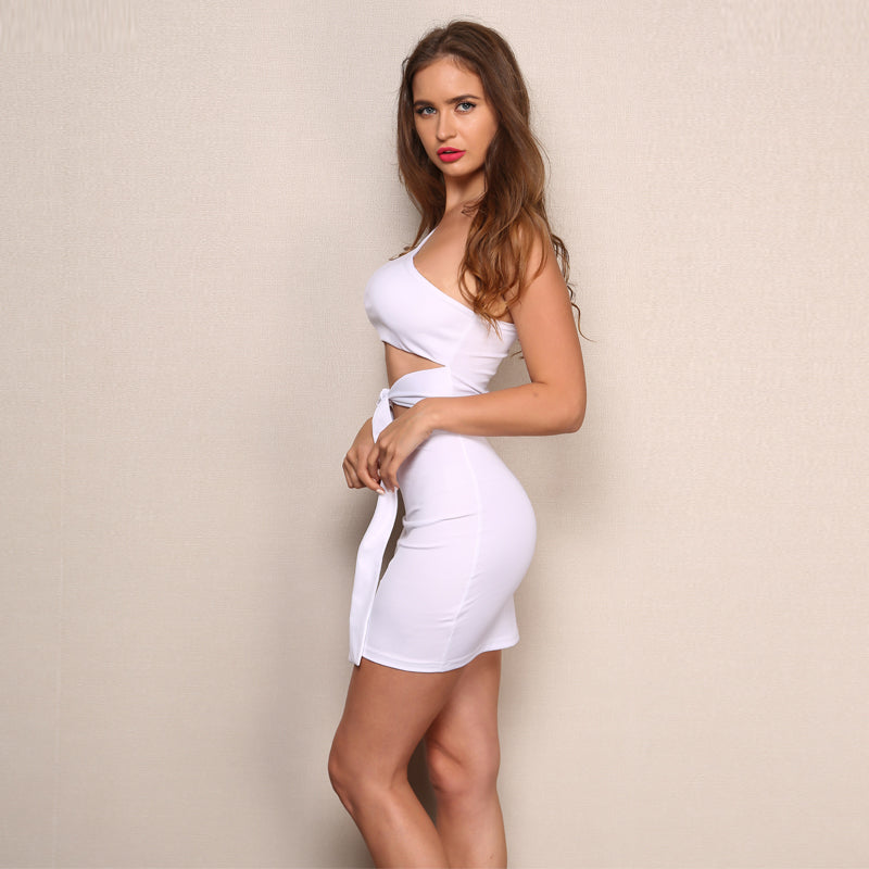 One Shoulder Cut Out Mini Dress - 2 Colors Available