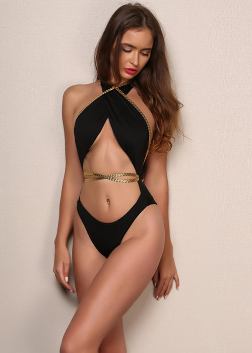 Gold Rope Wrap One Piece Swimsuit - 2 Colors Available