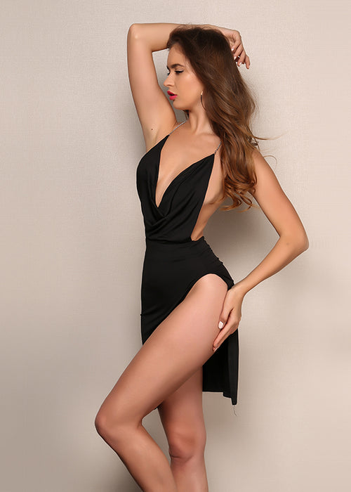 Black Backless Cowl Neck Mini Dress - 3 Colors Available