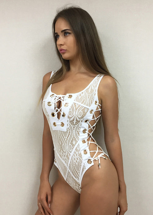 White Lace Grommet One Piece Swimsuit
