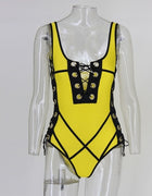Yellow Grommet Lace Up One Piece Swimsuit