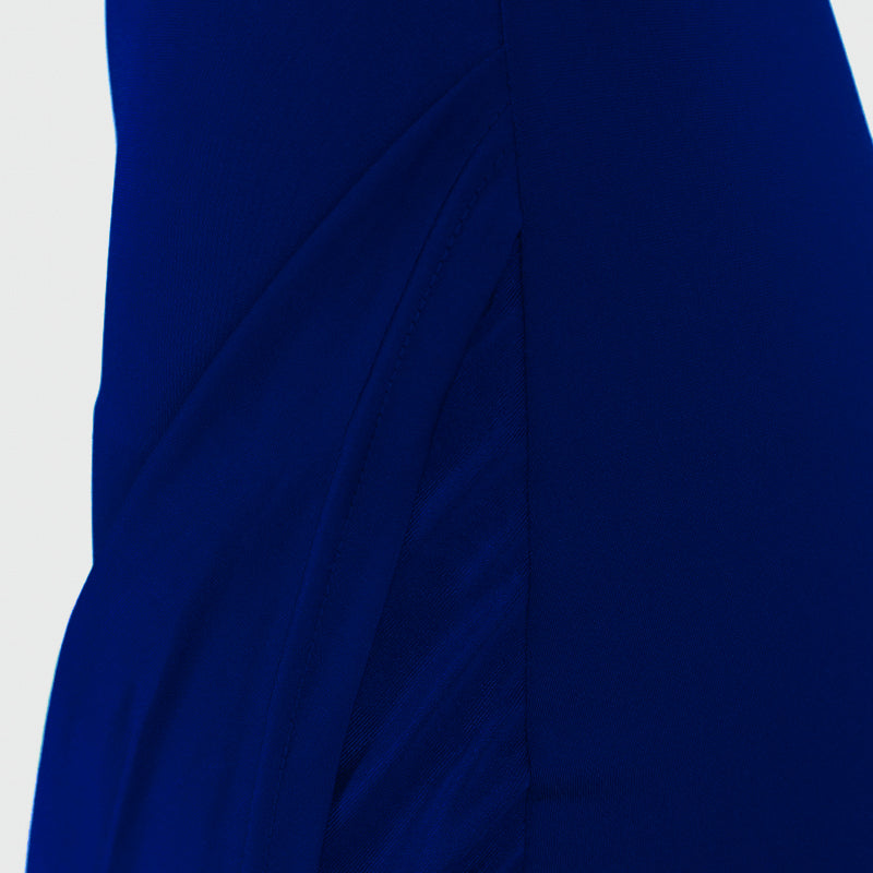 Blue Draped Asymmetrical Mini Dress