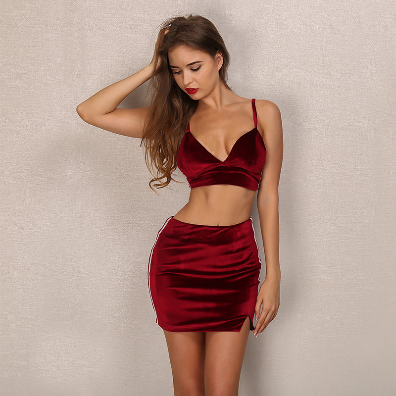 Red Velvet Crop Two Piece Mini Dress