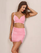 Pink Velvet Crop Two Piece Mini Dress