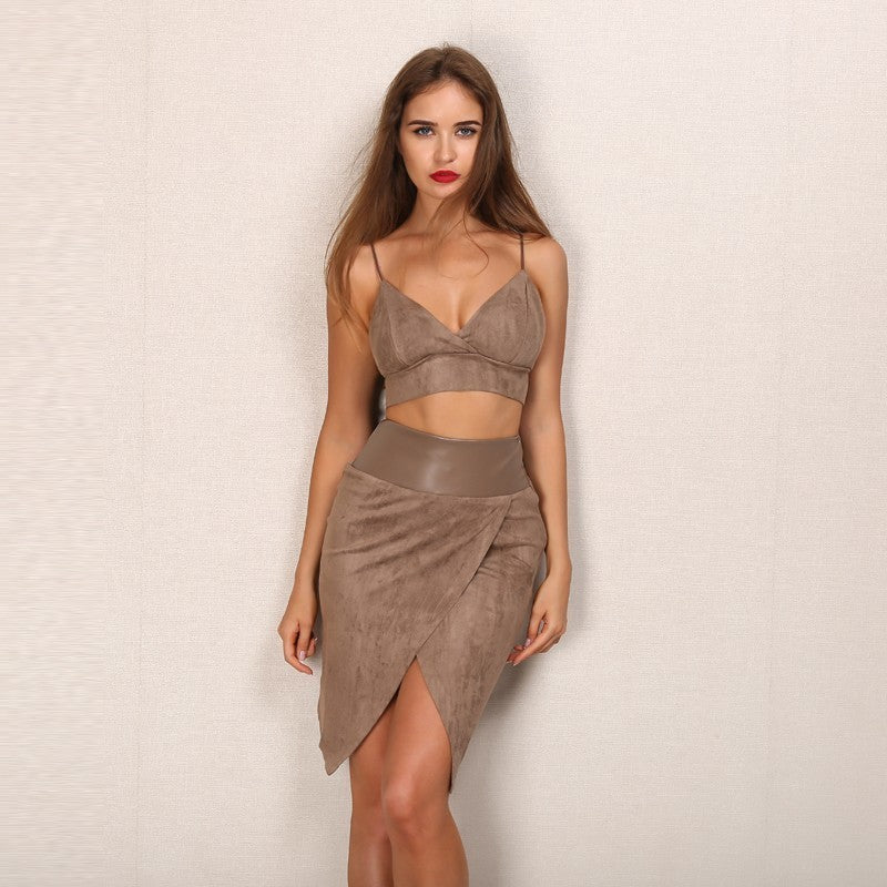 Brown Faux Suede Wrap Two Piece Dress - 2 Colors Available