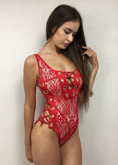 Red Lace Grommet One Piece Swimsuit