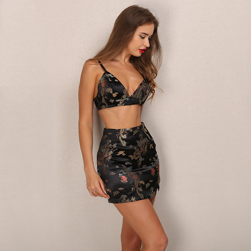 Black Satin Brocade Embroidery Two Piece Mini Dress