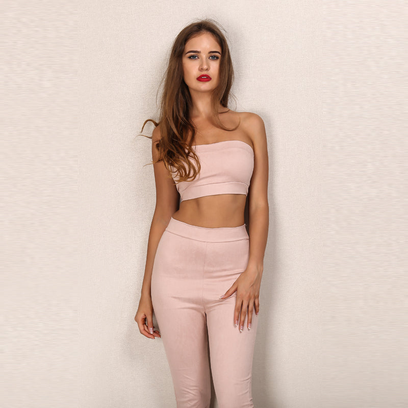 9b852943b17 Pink Faux Suede Crop Two Piece Jumpsuit – Lust for Body