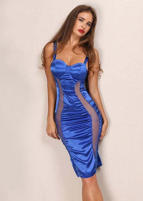 Sheer Mesh and Satin Mini Dress - 2 Colors Available