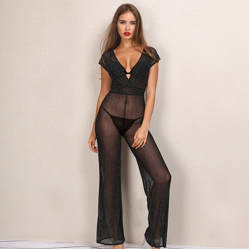 Black Sheer Mesh Backless Jumpsuit