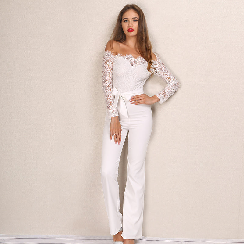 White Lace Off The Shoulder Jumpsuit