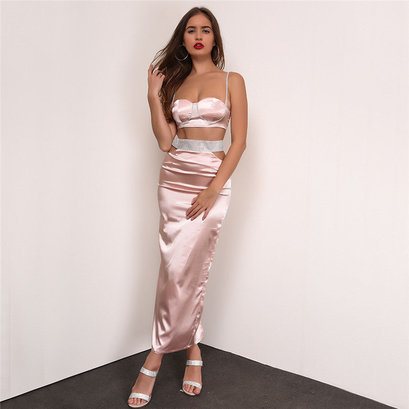 a2cdb2ffd1 Satin Cut Out Two Piece Maxi Dress - 2 Colors Available – Lust for Body