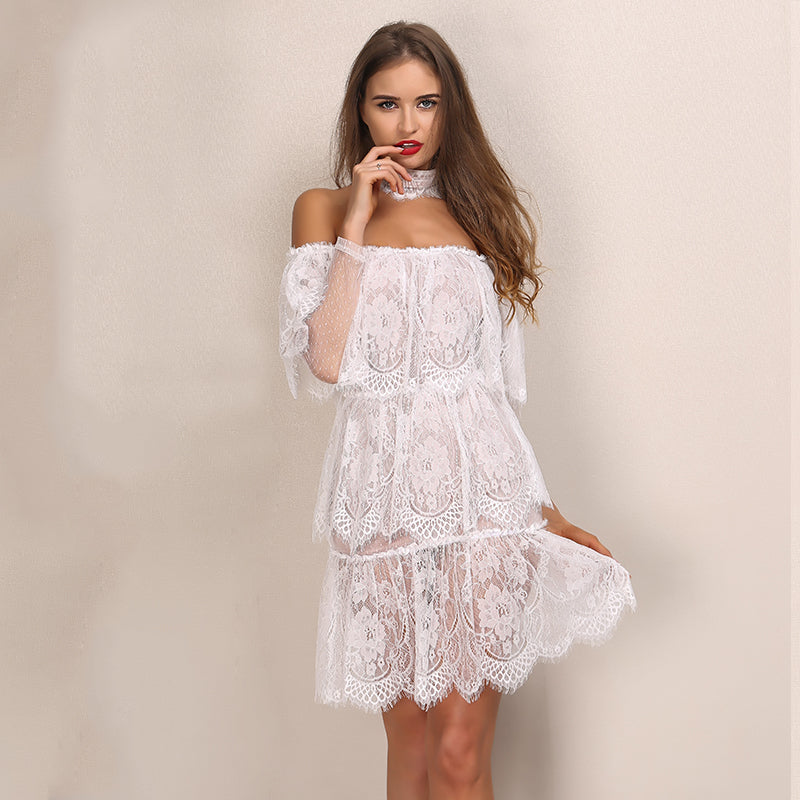 White Off The Shoulder Tiered Lace Mini Dress