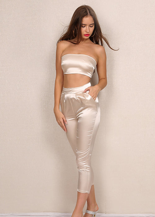 Nude Satin Crop Tube Two Piece Jumpsuit
