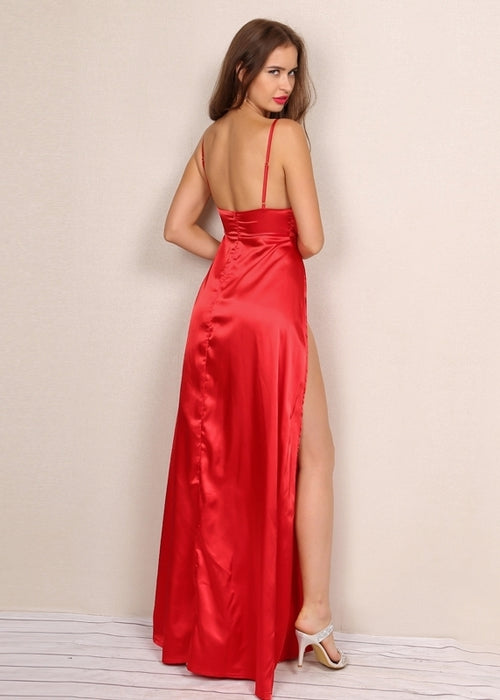 Red Satin Double Slit Maxi Dress
