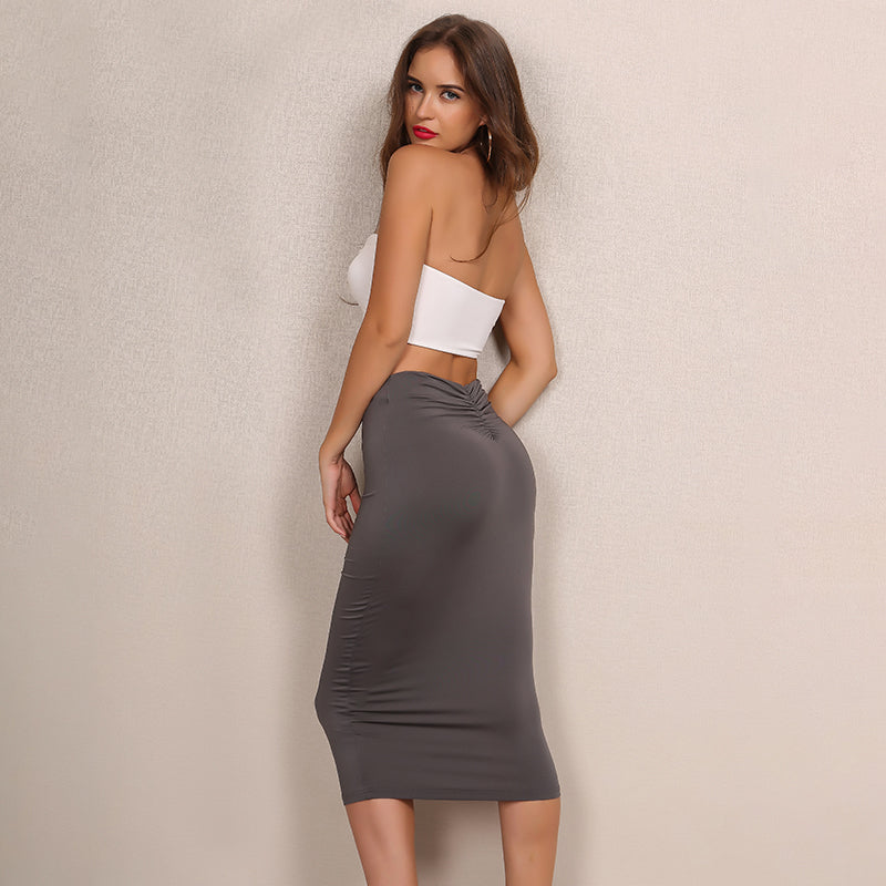 Grey Strapless Ruched Two Piece Dress