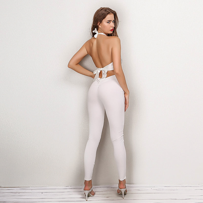 a5c08b5706f White Sequin Halter Two Piece Jumpsuit – Lust for Body
