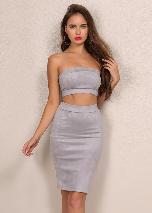 9b225cc0553c25 Quick View Grey Faux Suede Crop Two Piece Dress - 3 Colors Available ...