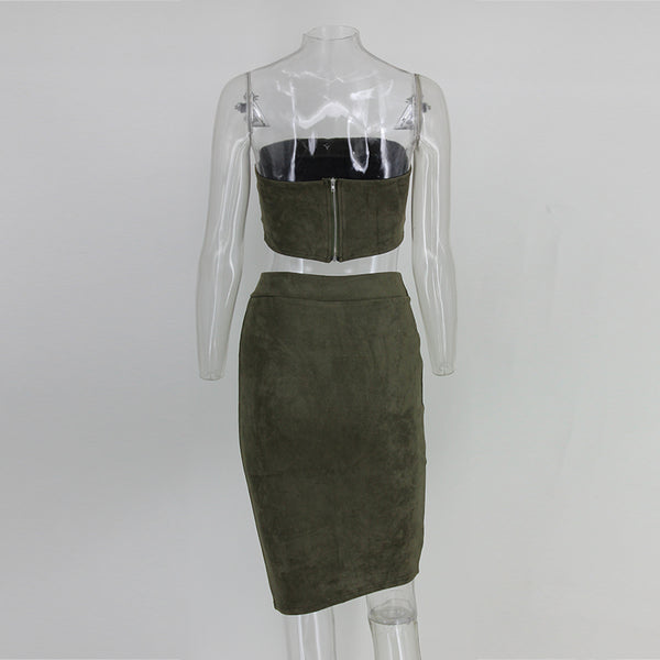Grey Faux Suede Crop Two Piece Dress - 3 Colors Available