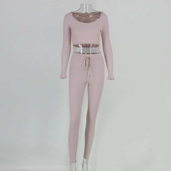 Crop Hoodie Two Piece Jumpsuit - 2 Colors Available