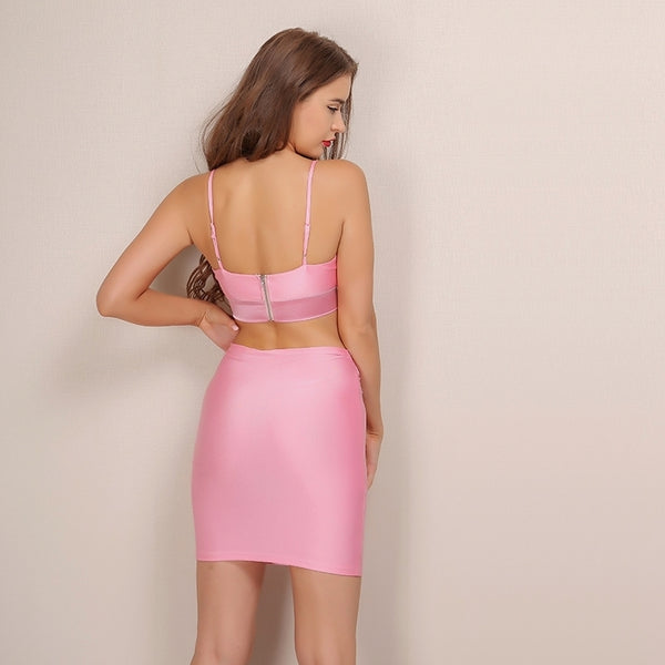 Pink Crop Top Bodycon Two Piece Dress