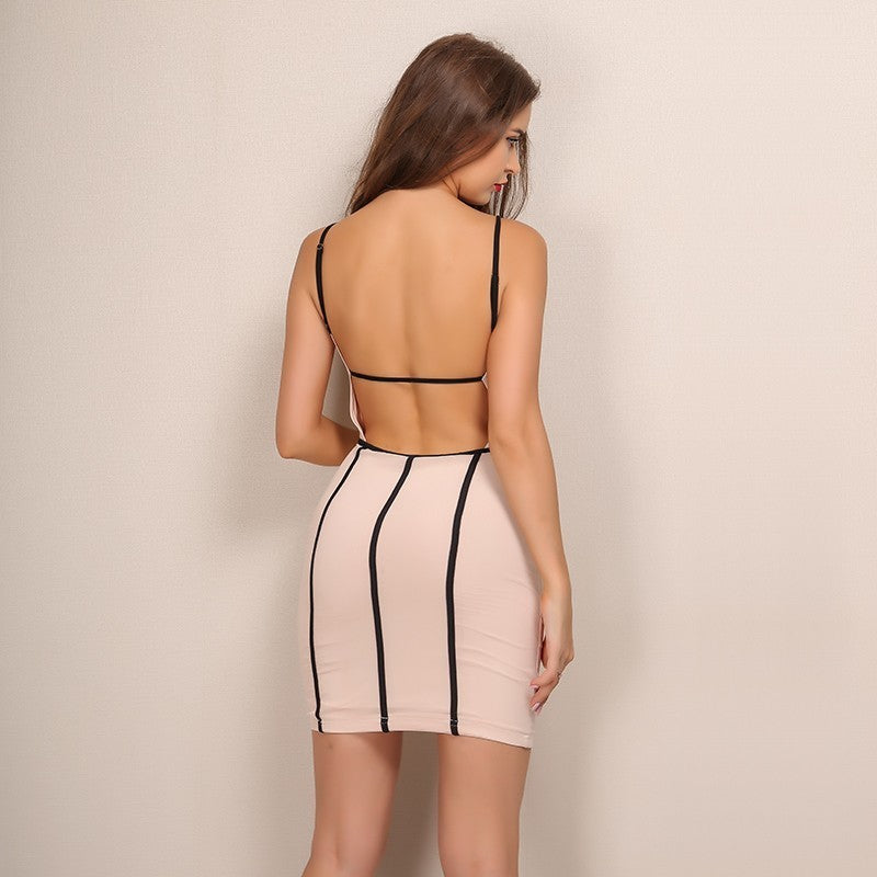 Apricot Backless Bodycon Mini Dress