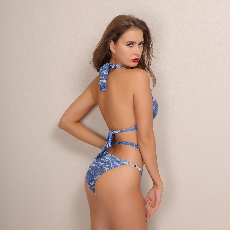 Cut Out Halter Rhinestone Two Piece Bikini - 2 Colors Available