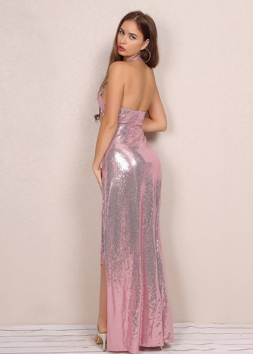 Pink Sequin Keyhole High Slit Maxi Dress