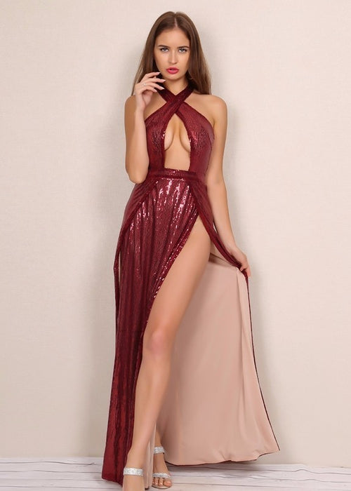 Wine Red Sequin Keyhold Maxi Dress