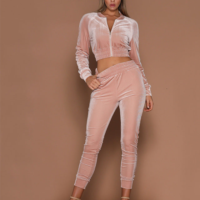 Two Piece Velvet Track Suit - 3 Colors Available
