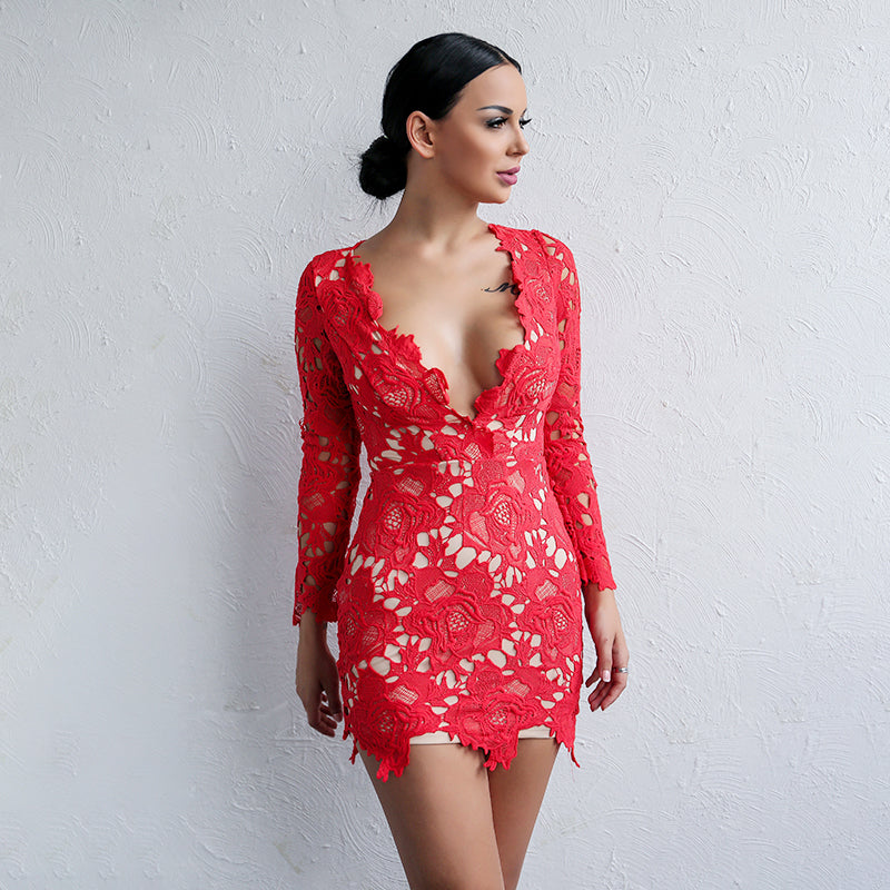 Red Long Sleeve Lace Mini Dress